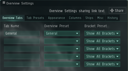 Overview Settings – EVE Online